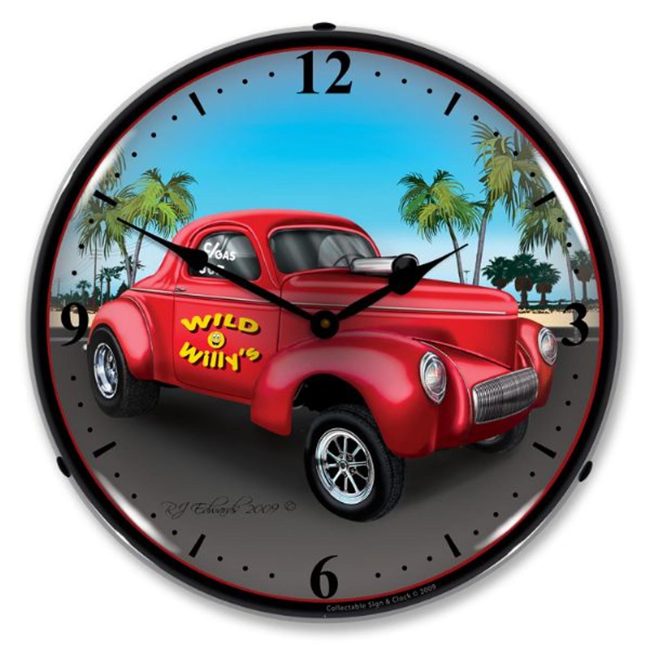 Willys Gasser Lighted Wall Clock