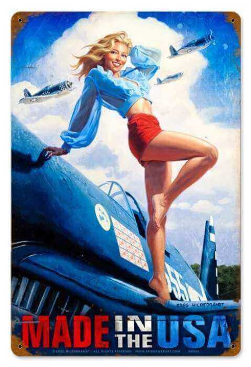 Vintage Made in the USA  - Pin-Up Girl Metal Sign 12 x 18 Inches