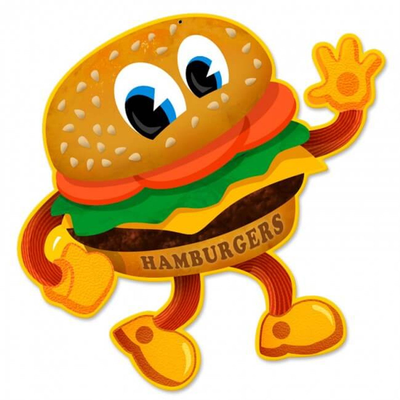 Retro Hamburger Metal Sign 19 x 20 inches