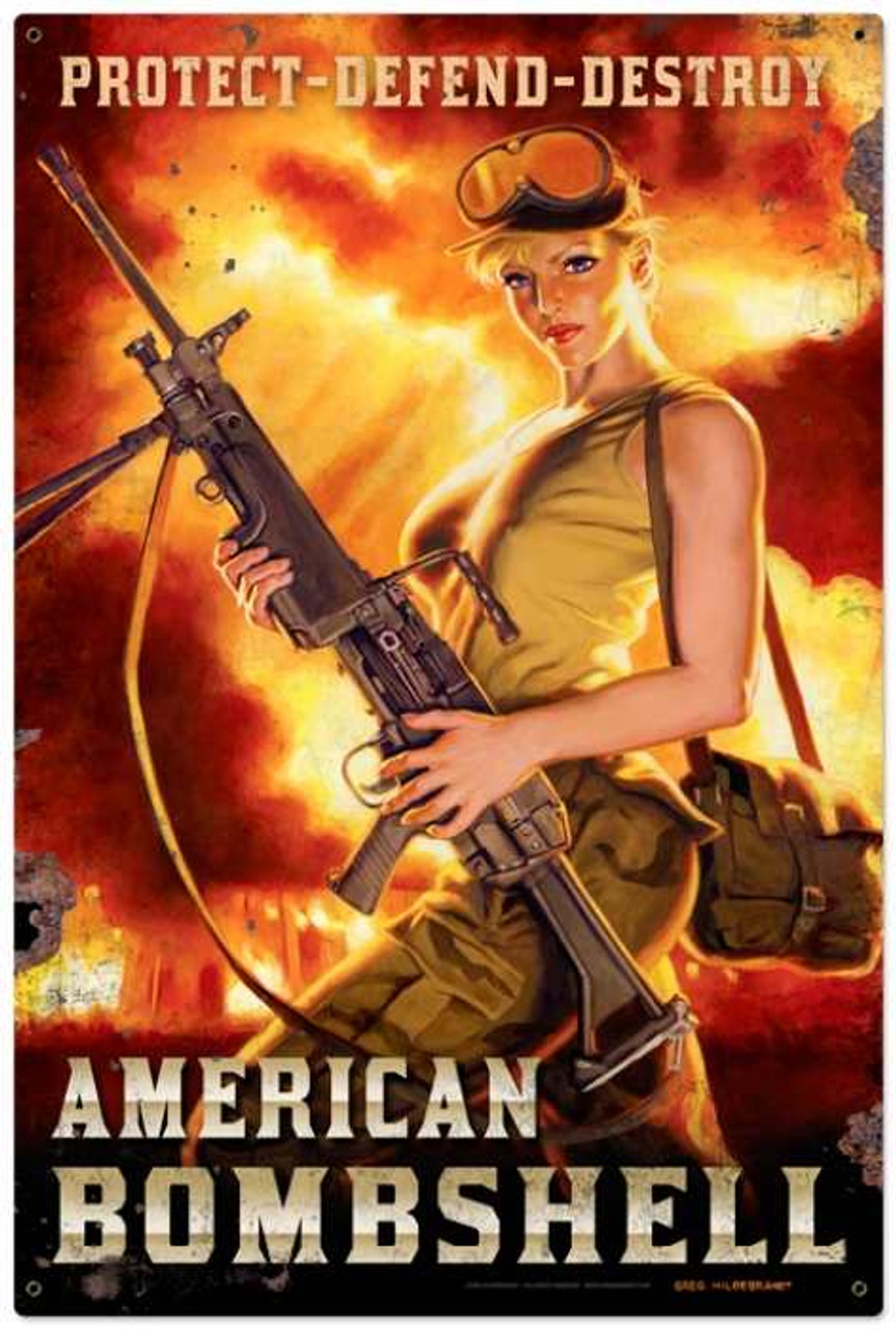Retro American Bombshell Metal Sign 24 x 36 Inches