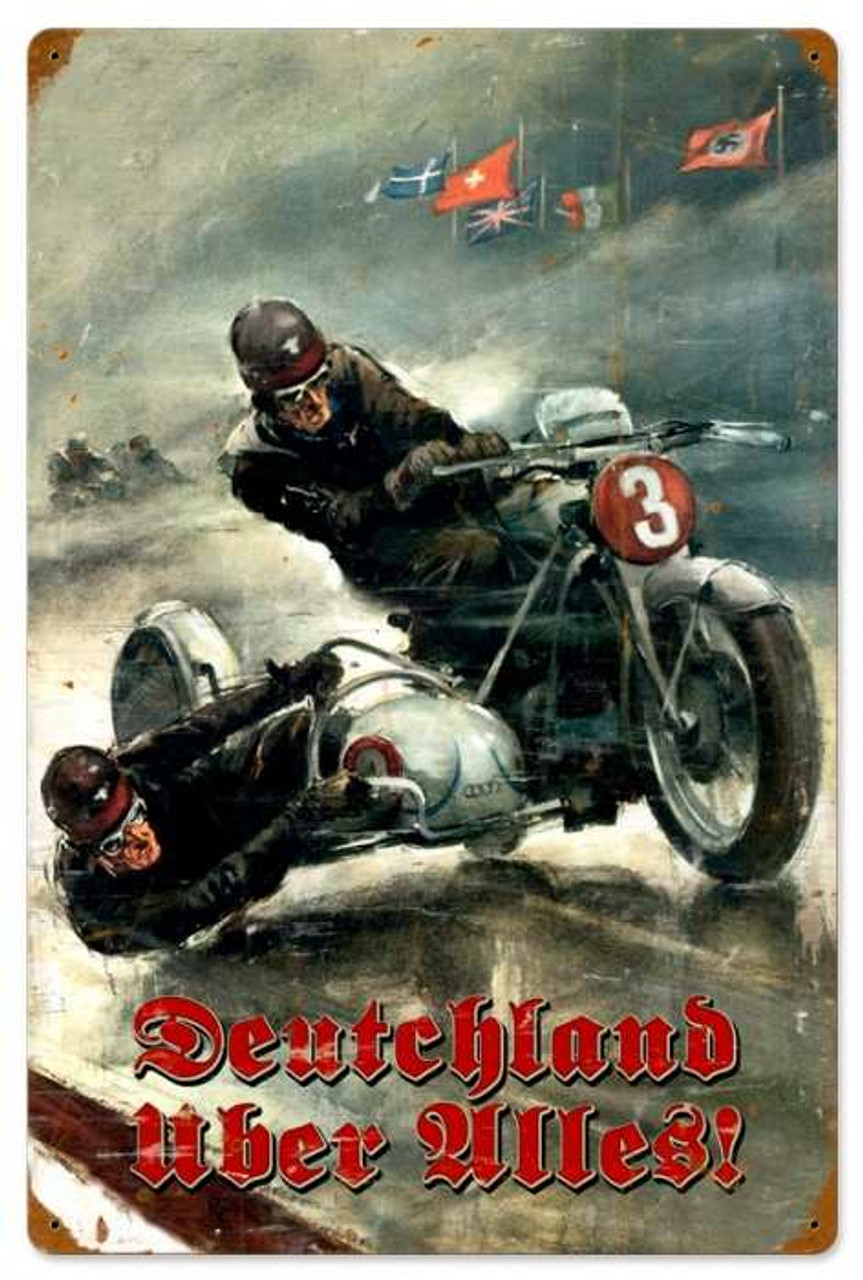 Retro German Motorcycle Metal Sign 16 x 24 Inches