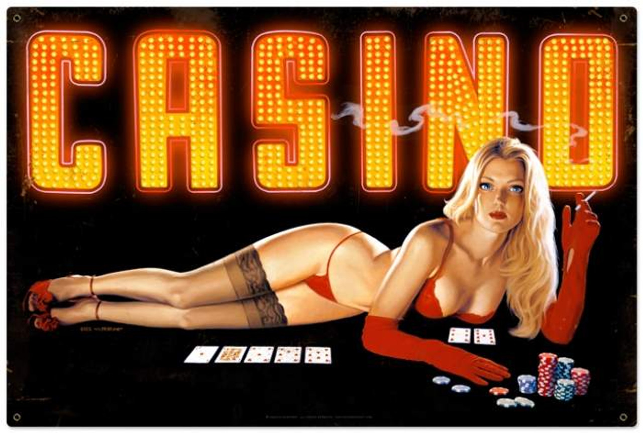 Retro Red Light Casino  - Pin-Up Girl Metal Sign 36 x 24 Inches