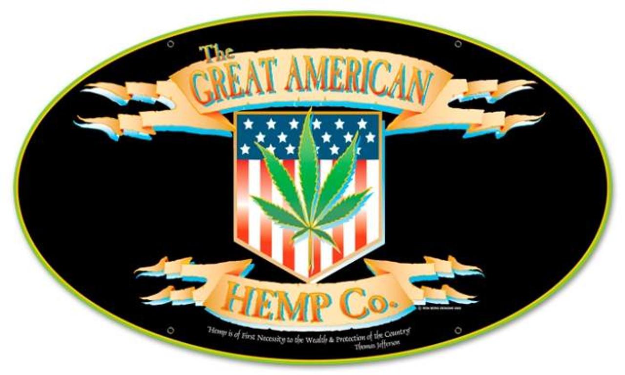 Retro American Hemp Oval Metal Sign 24 x 14 Inches