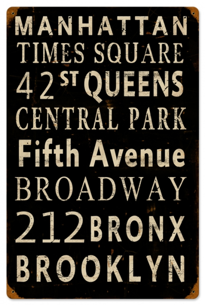 Vintage New York Streets Metal Sign 16 x 24 Inches