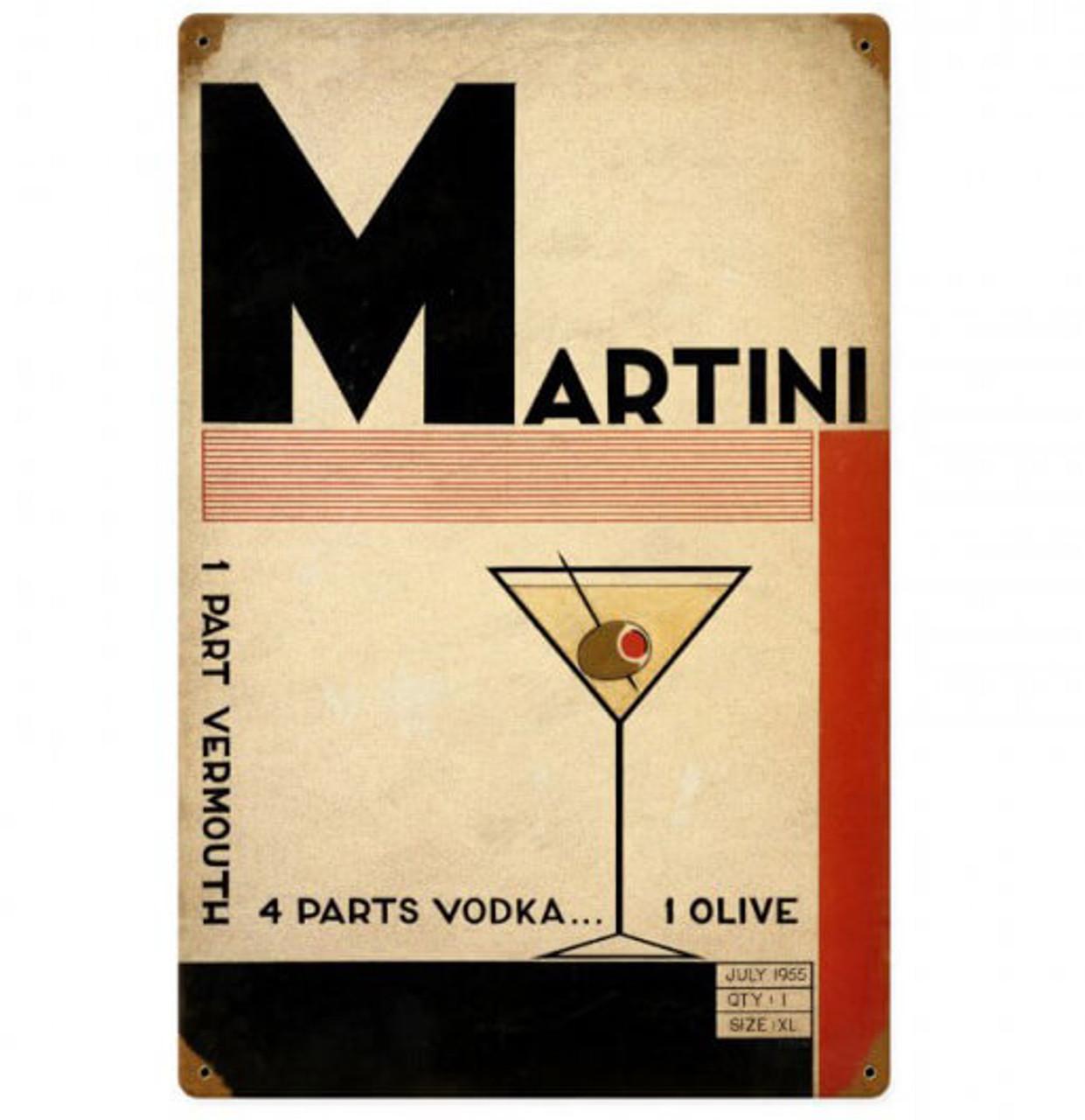 Retro Deco Martini Metal Sign 12 x 18 Inches