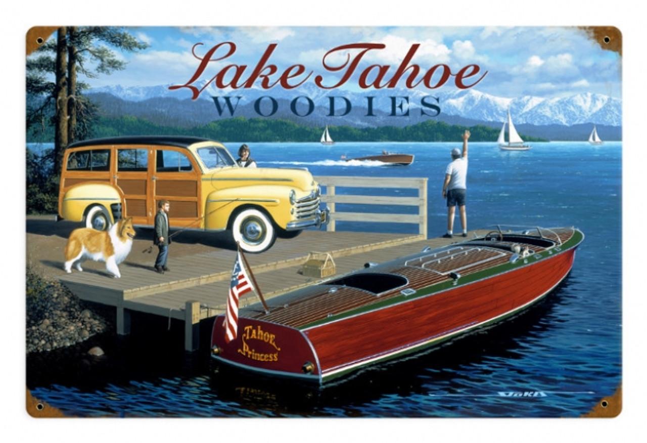Retro Lake Tahoe Woodies   Metal Sign 18 x 12 Inches