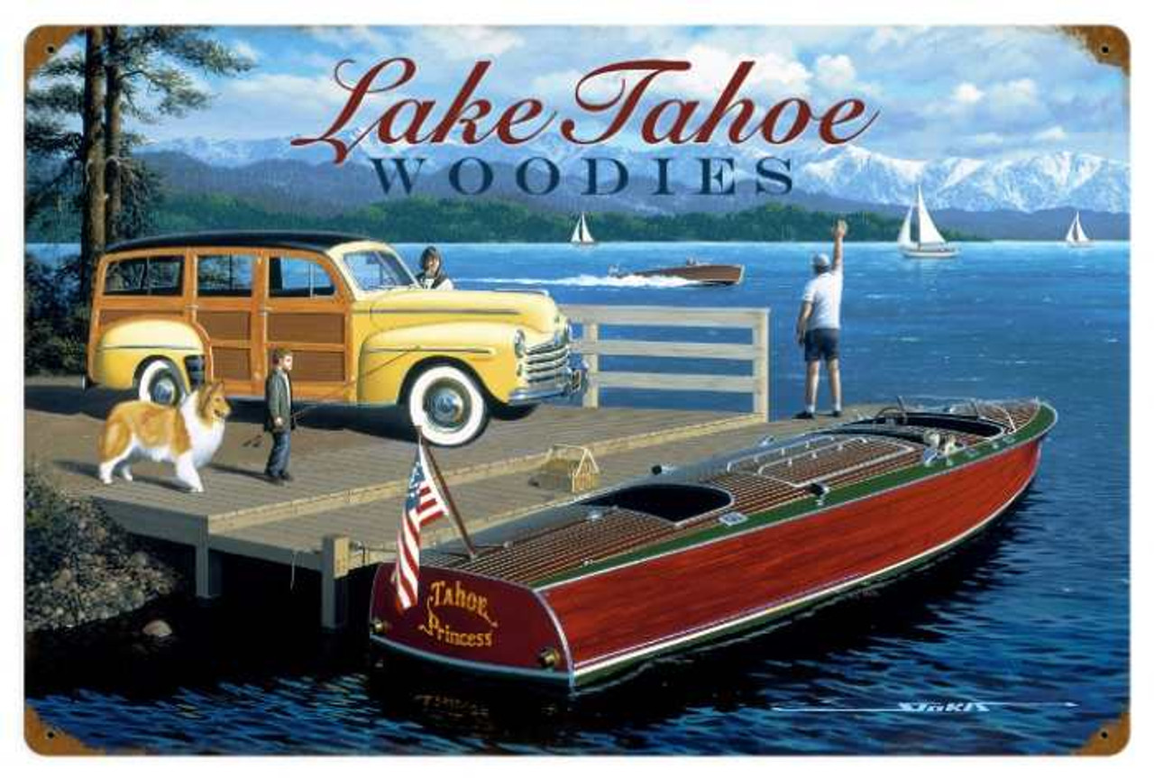 Retro Lake Tahoe Woodies 24 x 16 Inches Metal Sign