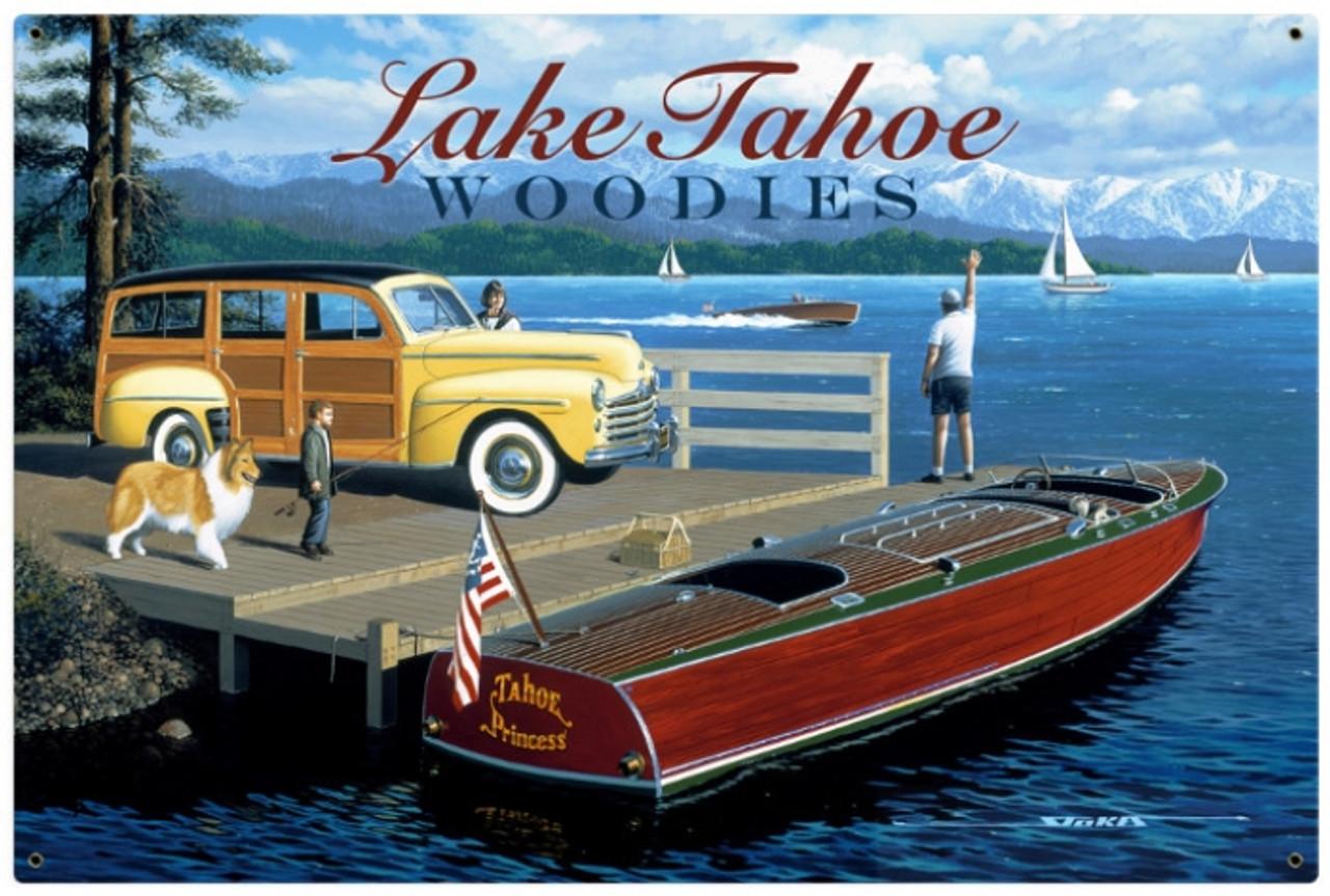 Retro Lake Tahoe Woodies Metal Sign 36 x 24 Inches