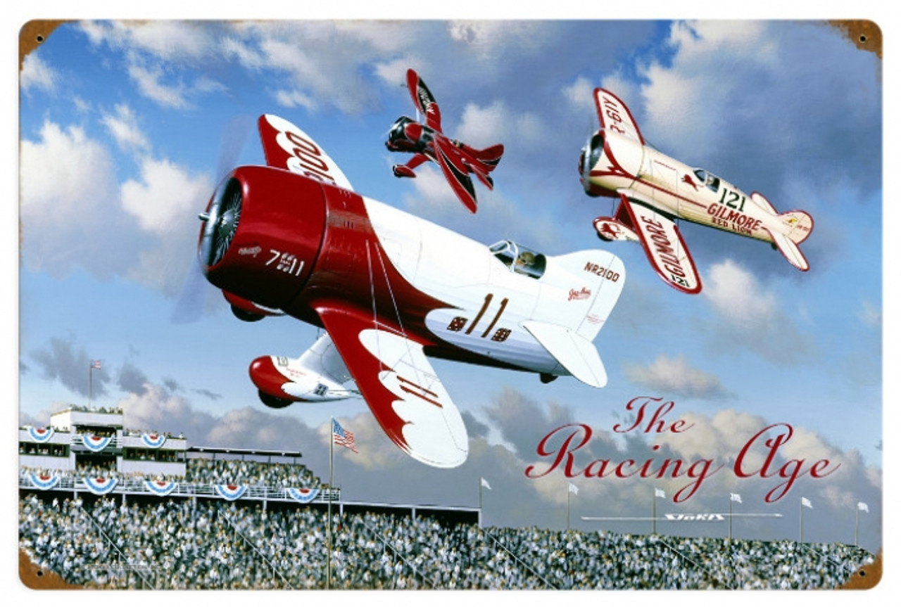 Vintage The Racing Age Metal Sign 24 x 16 Inches
