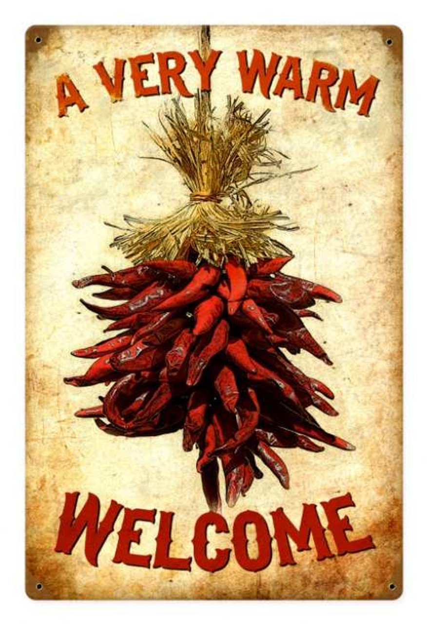 Vintage Welcome Chilies Metal Sign 12 x 18 Inches