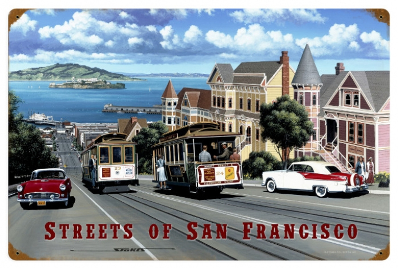 Retro San Francisco Streets Metal Sign 24 x 16 Inches