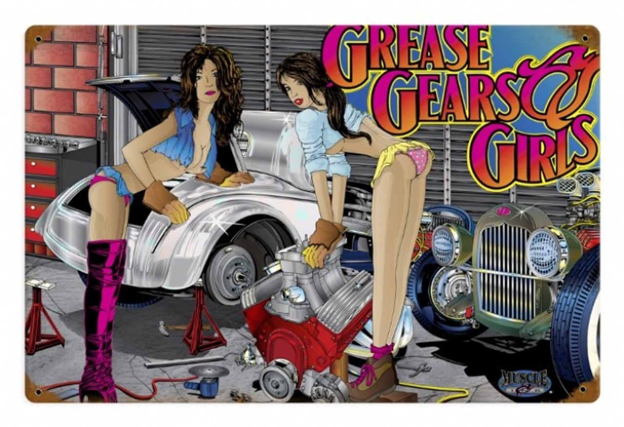 Vintage  Girls, Gears, Grease  - Pin-Up Girl Metal Sign  18 x 12 Inches