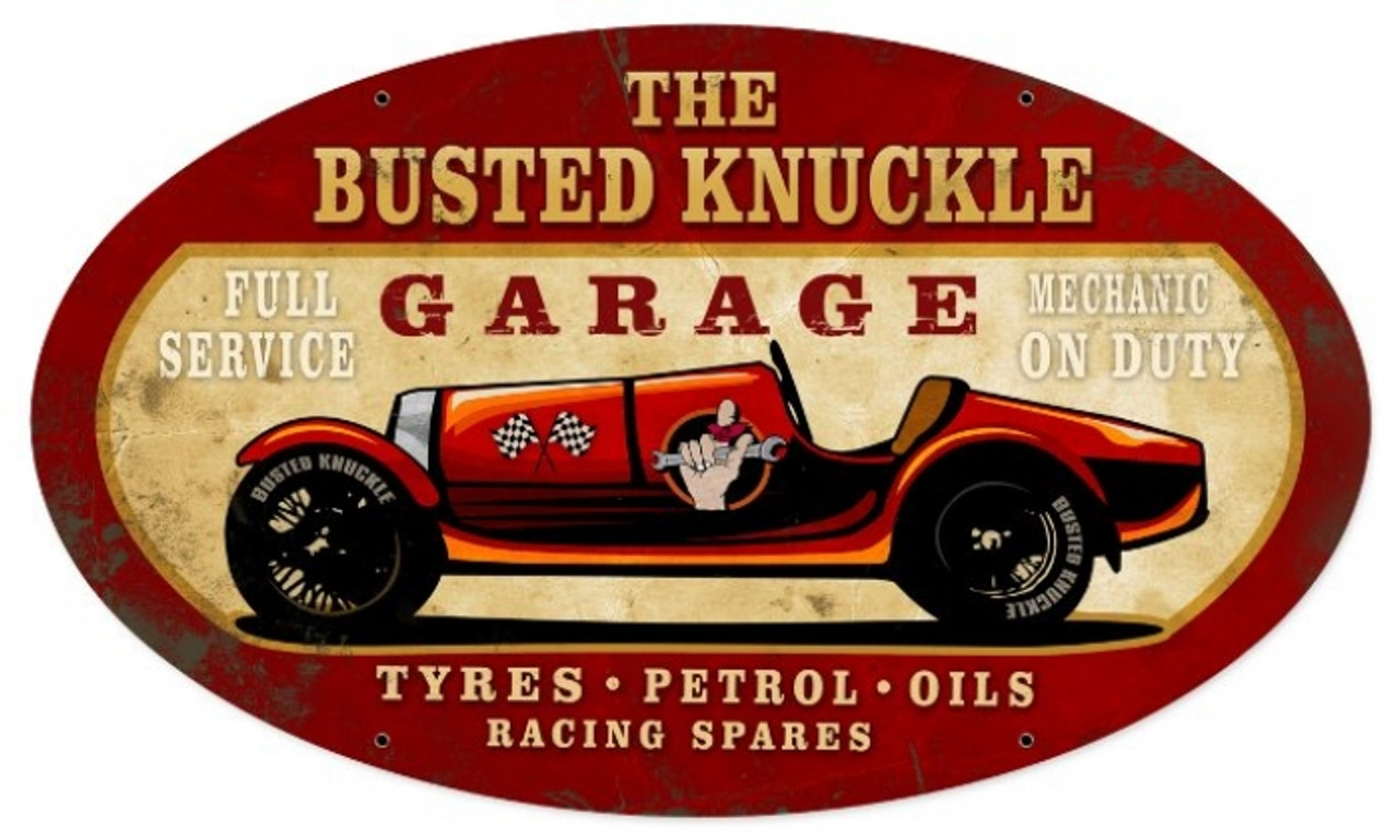 Vintage  Old Race Car Metal Sign 24 x 14 Inches