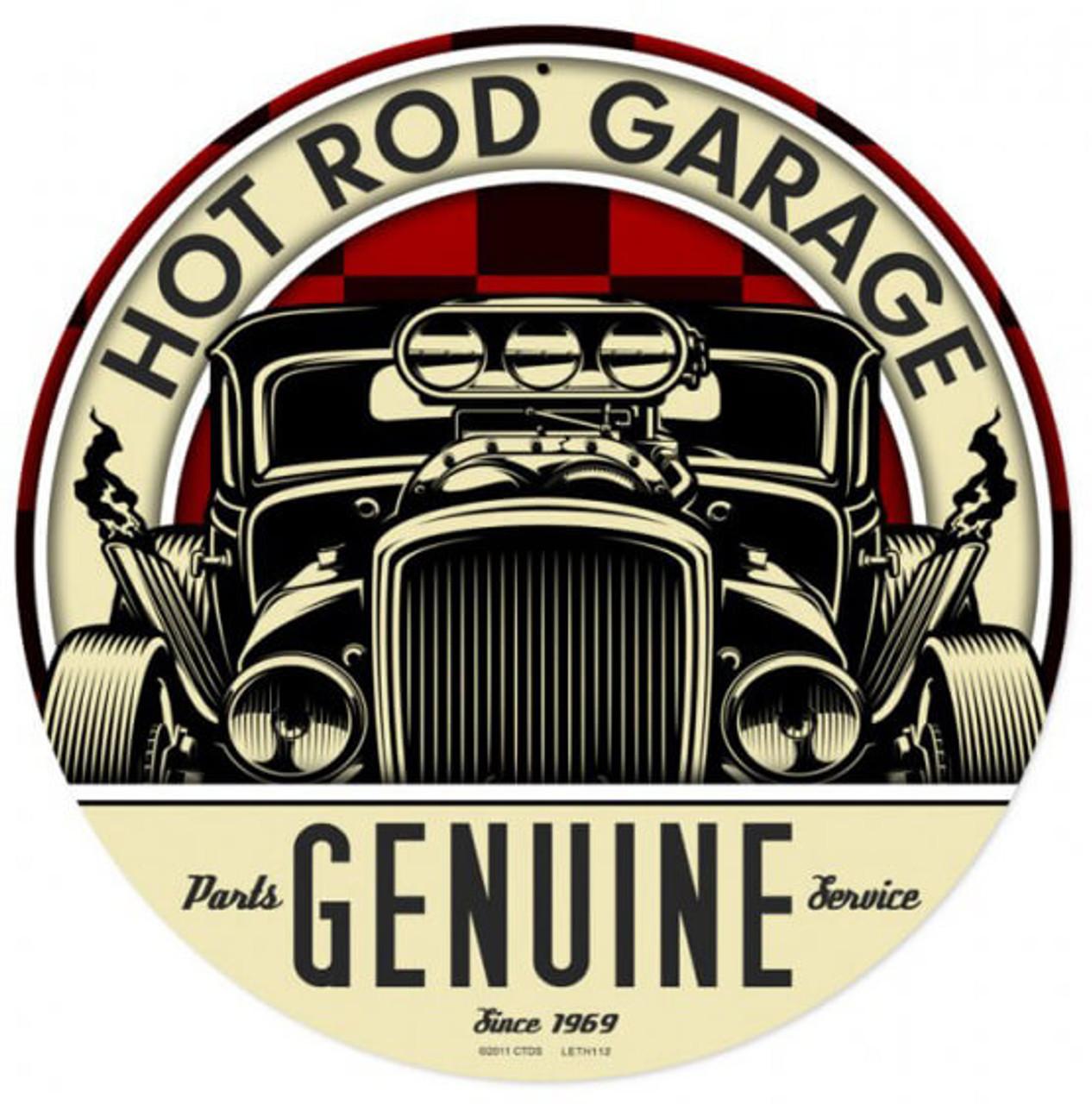 Retro Genuine Hot Rod Metal Sign 14 x 14 Inches