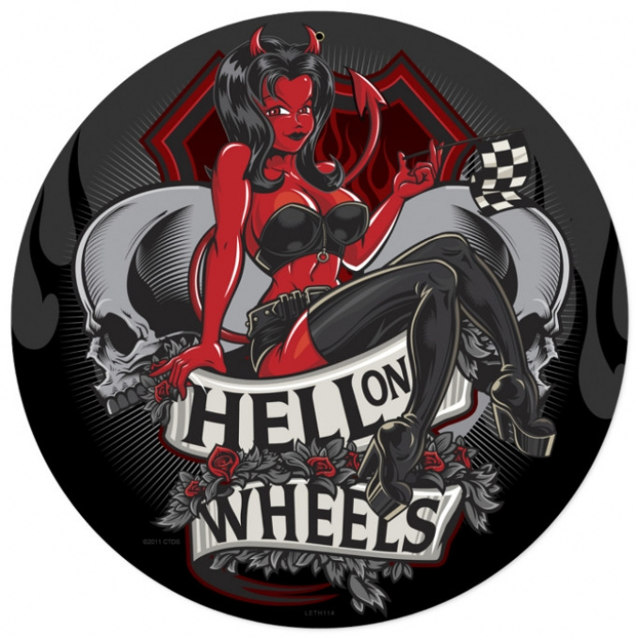 Retro Hell on Wheels Metal Sign 14 x 14 Inches