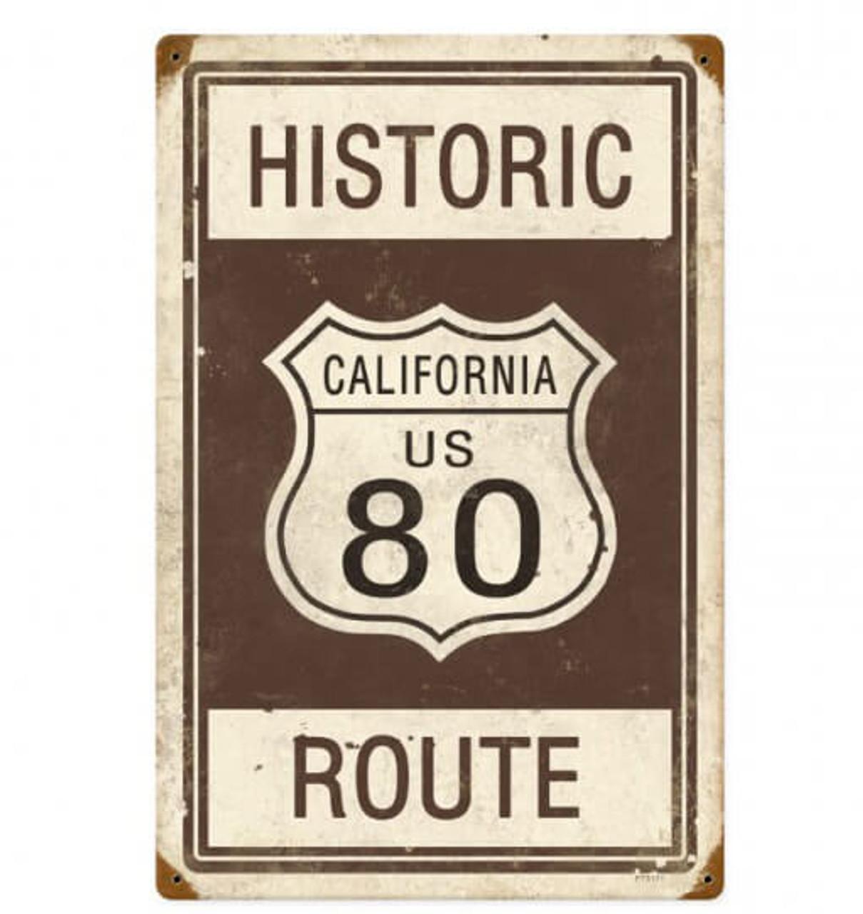 Retro Historic Route 80 Metal Sign 12 x 18 Inches