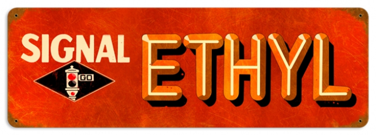 Vintage Signal Ethyl Metal Sign 24 x 8 inches