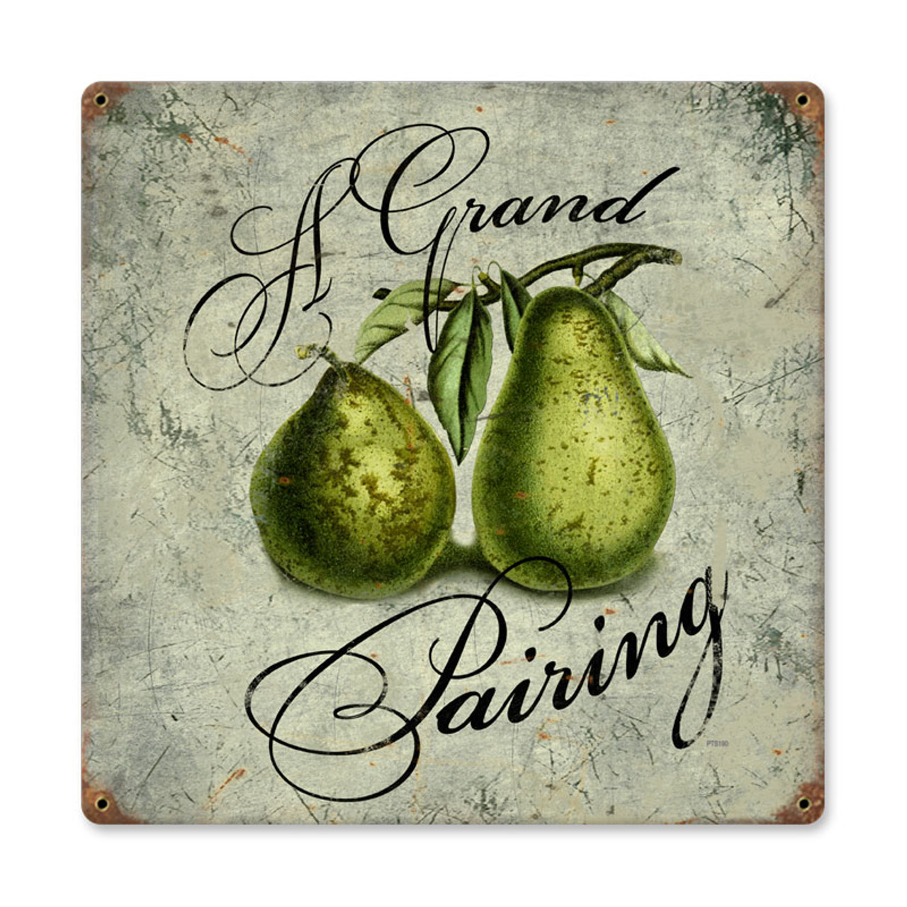 Vintage Pear Pairing Metal Sign   Inches 12 x 12 Inches