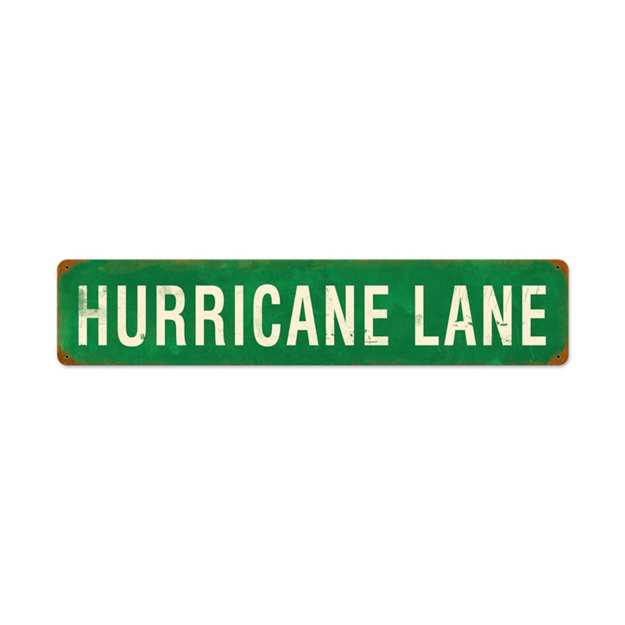 Retro Hurricane Lane Metal Sign 28 x 6 Inches