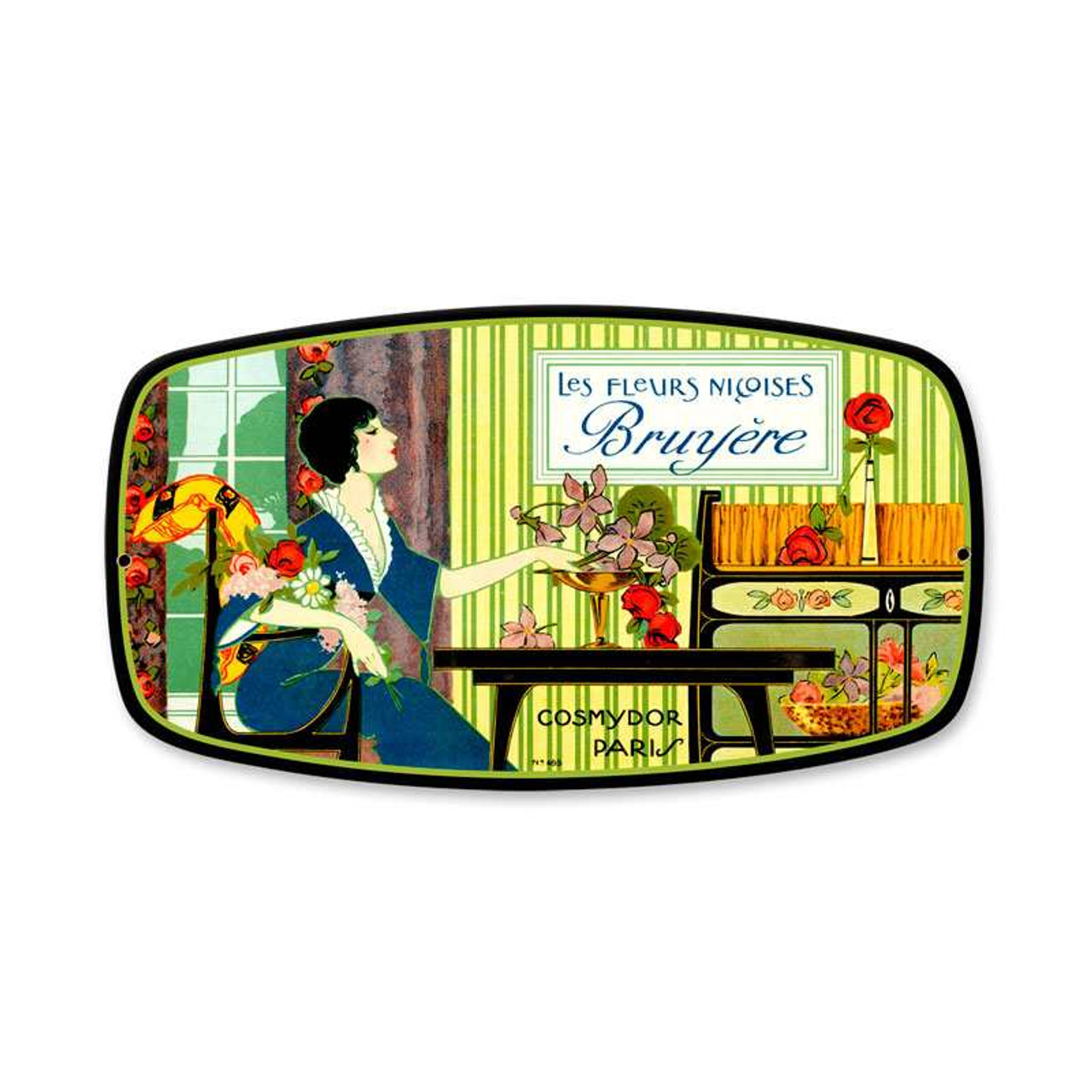 Vintage Bruyere Perfume Metal Sign  12 x 7 Inches