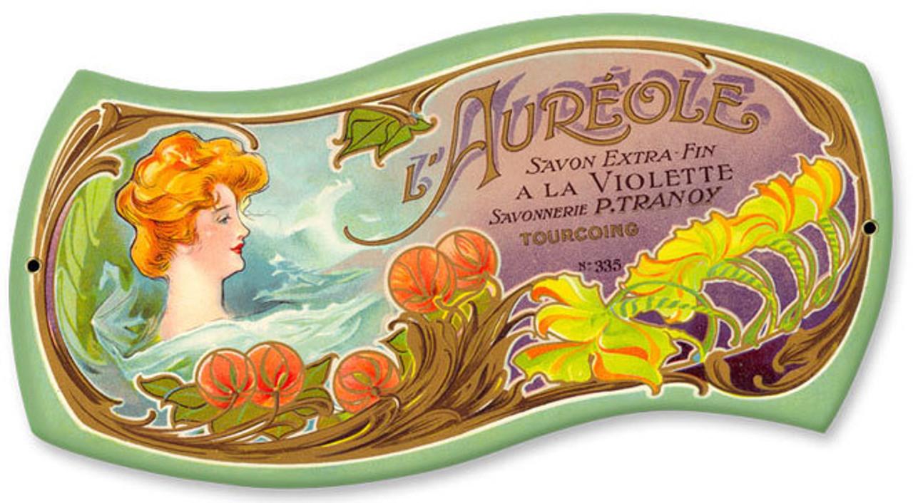 Vintage Aureole Perfume Metal Sign  12 x 7 Inches
