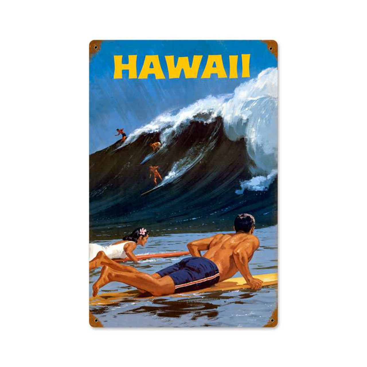 Retro Hawaii Wave Metal Sign   12 x 18 Inches