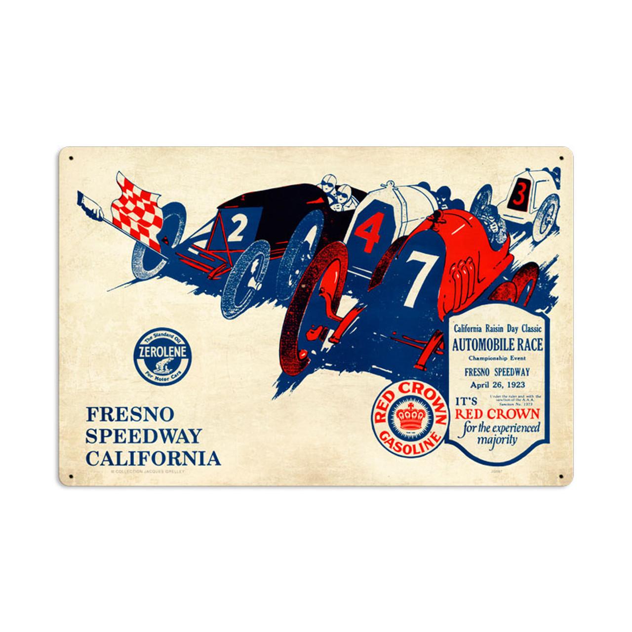 Retro Fresno Speedway Metal Sign 24 x 16 Inches
