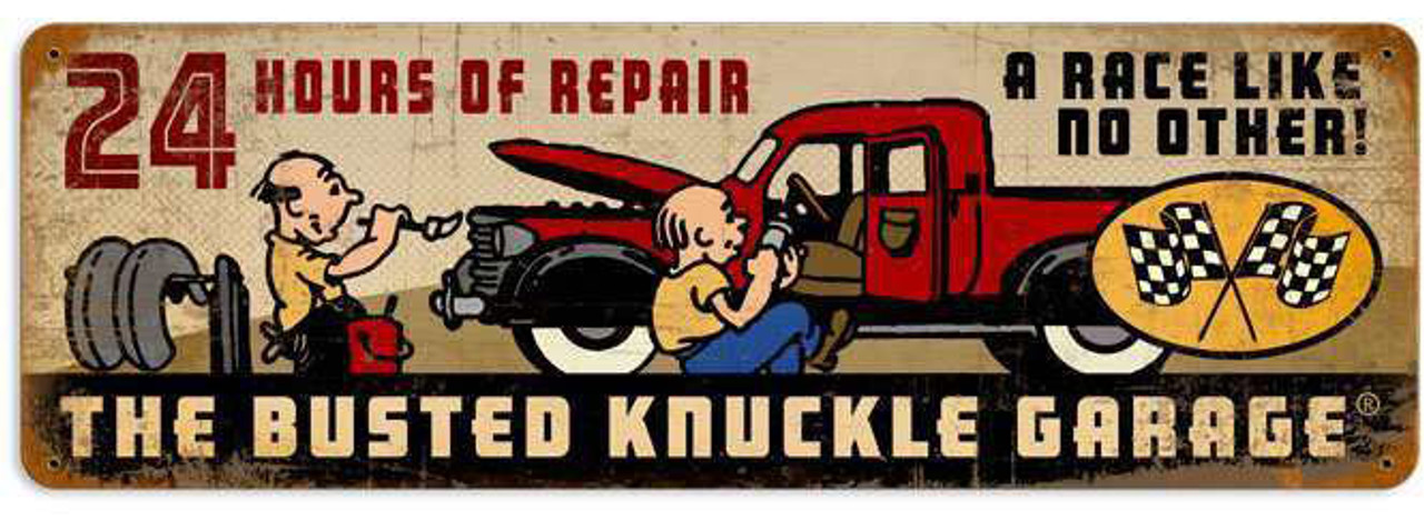 Retro 24 Hours of Repair Metal Sign 24 x 8 Inches