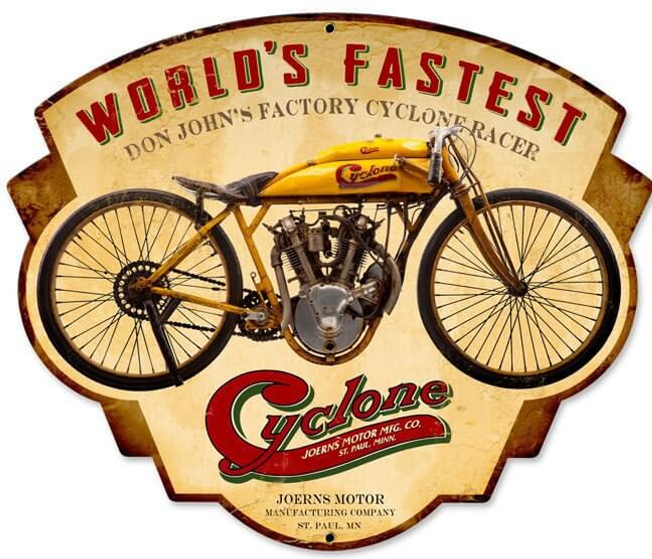 Retro Cyclone Metal Sign 17 x 14 Inches