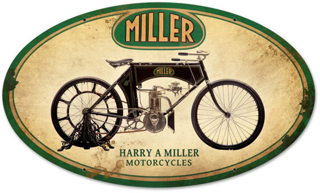 Retro Miller Motorcycles Metal Sign 24 x 14 Inches