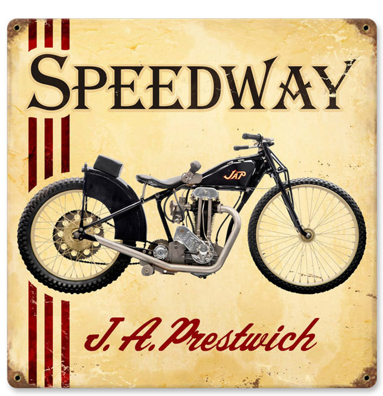 Retro JAP Speedway Metal Sign 12 x 12 Inches