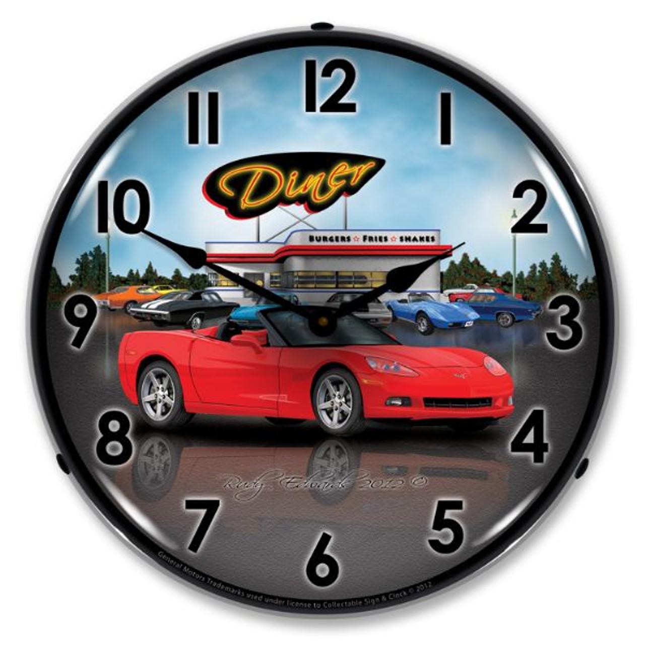Retro C6 Corvette Convertible Diner Lighted Wall Clock