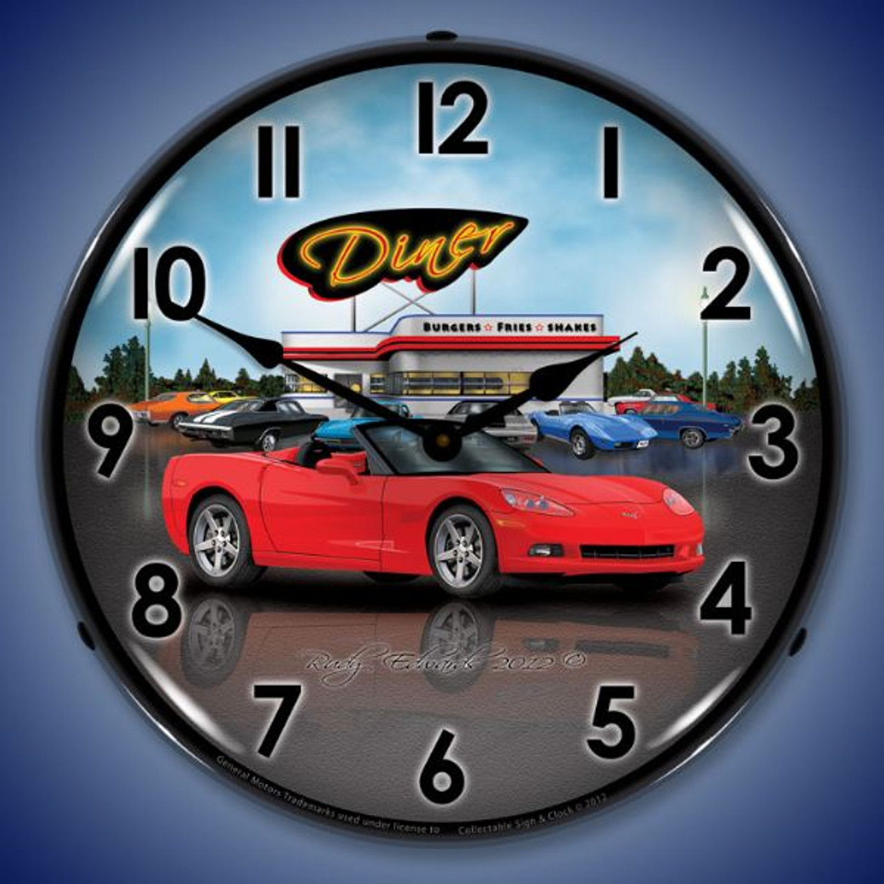 Retro C6 Corvette Convertible Diner Lighted Wall Clock 14 x 14 Inches