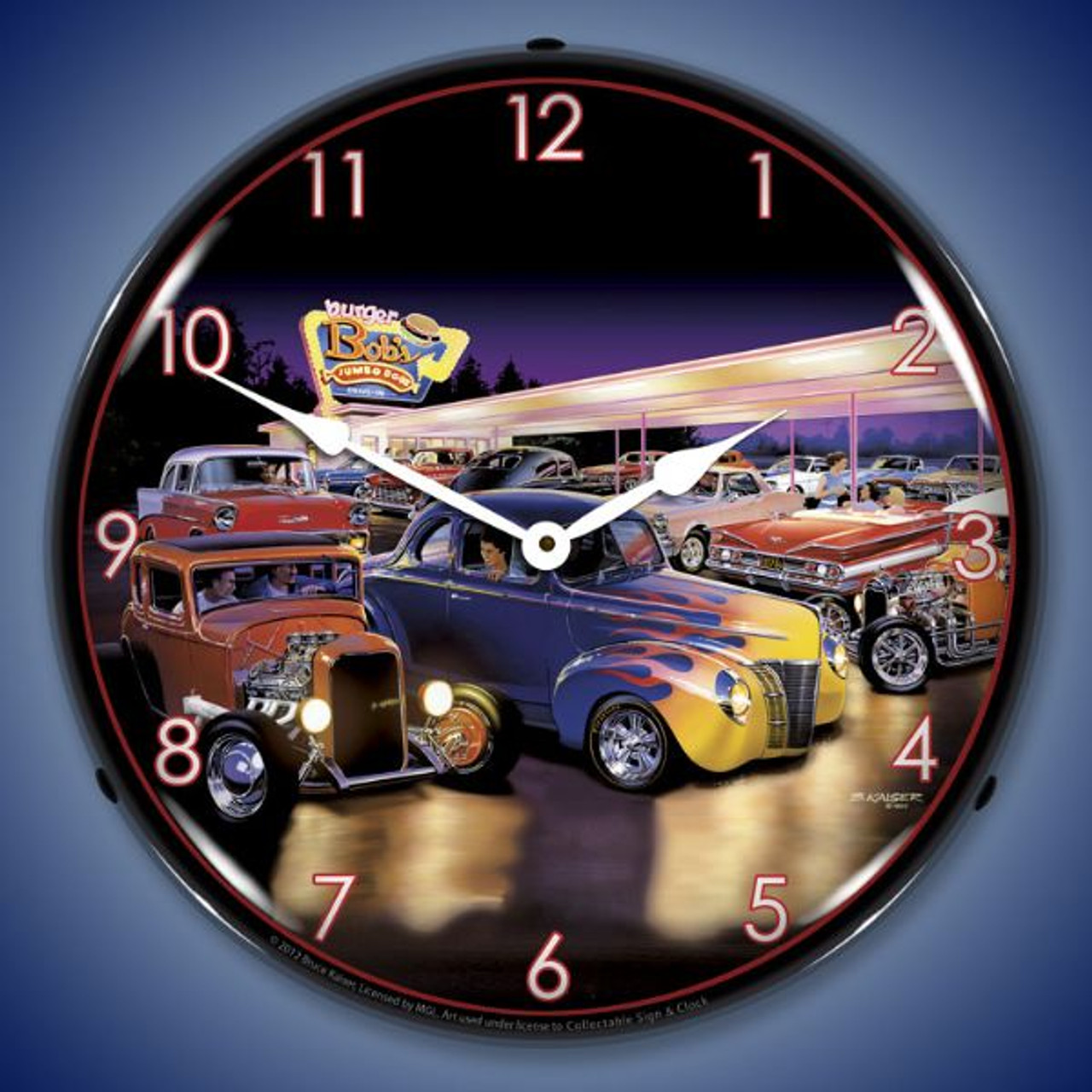 Retro Burger Bobs Lighted Wall Clock 14 x 14 Inches