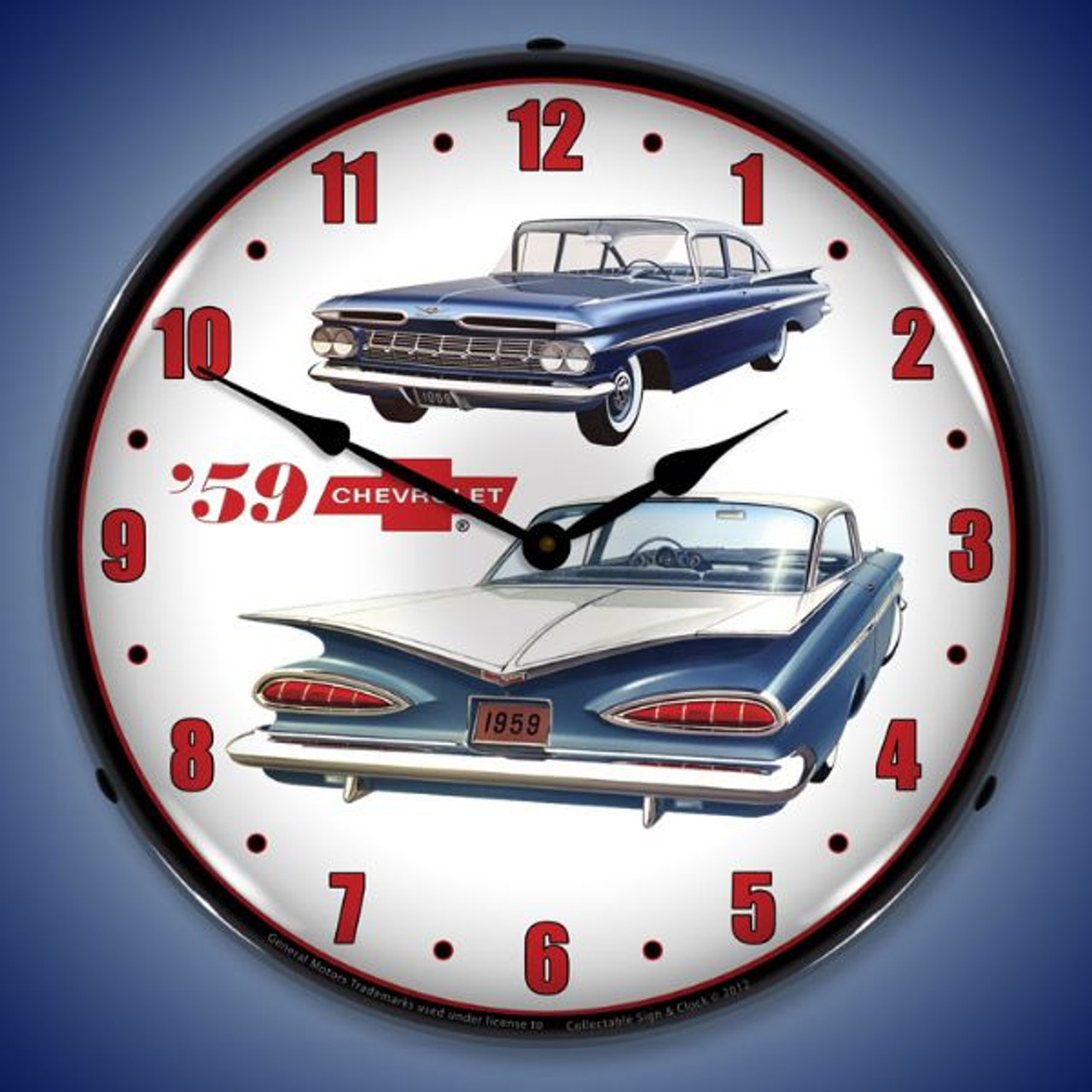 Retro 1959 Chevrolet  Lighted Wall Clock 14 x 14 Inches