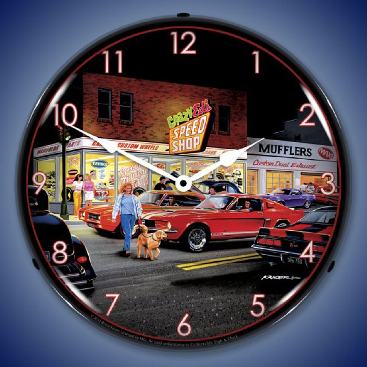 Retro Crazy Eds Lighted Wall Clock 14 x 14 Inches