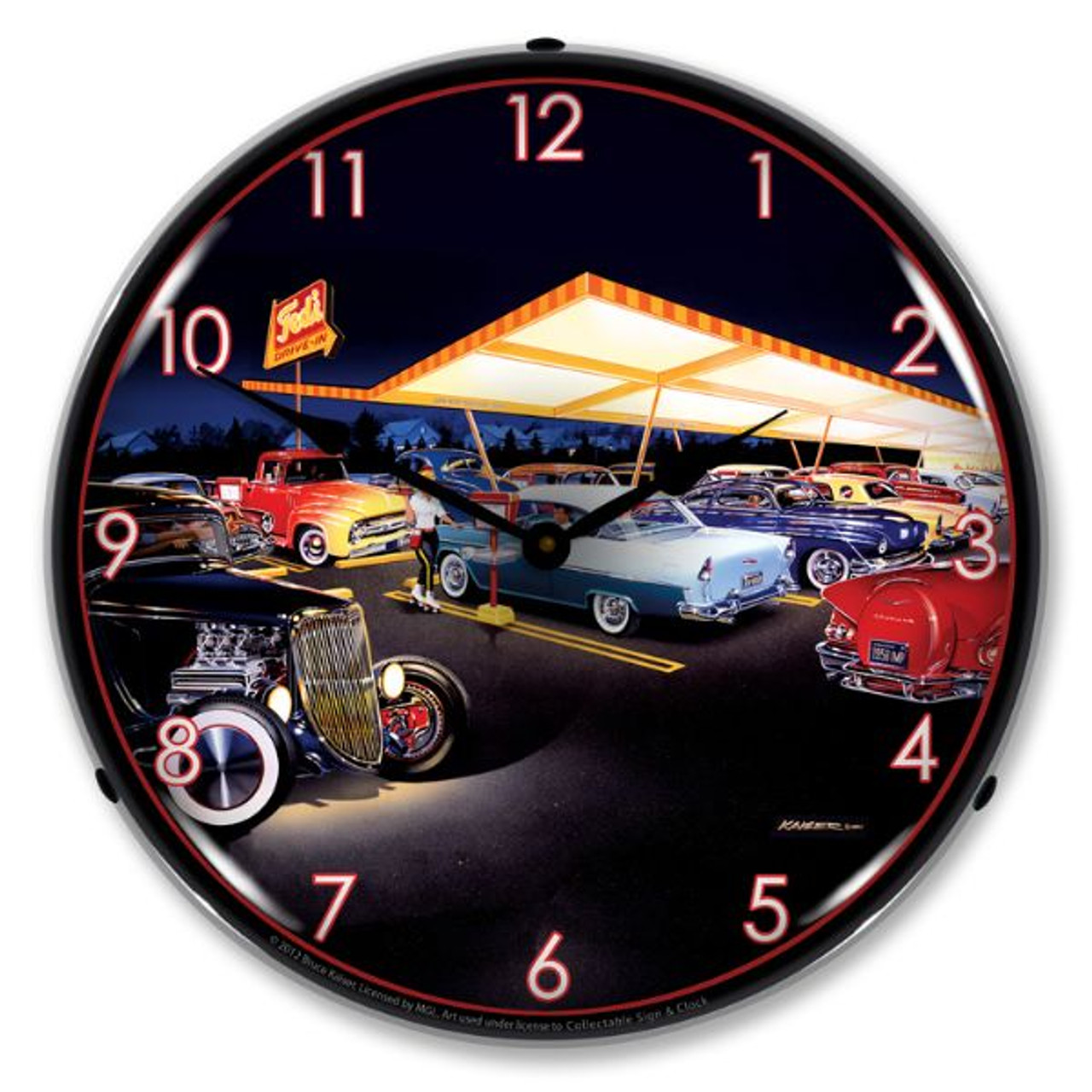 Teds Drive In Lighted Wall Clock