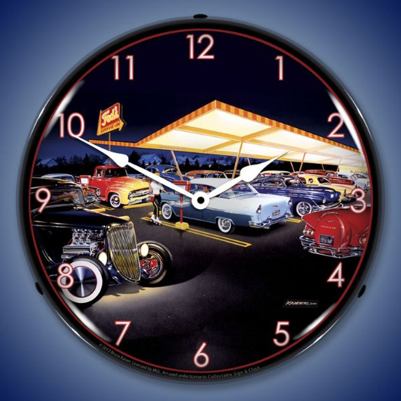 Retro Teds Drive In Lighted Wall Clock 14 x 14 Inches