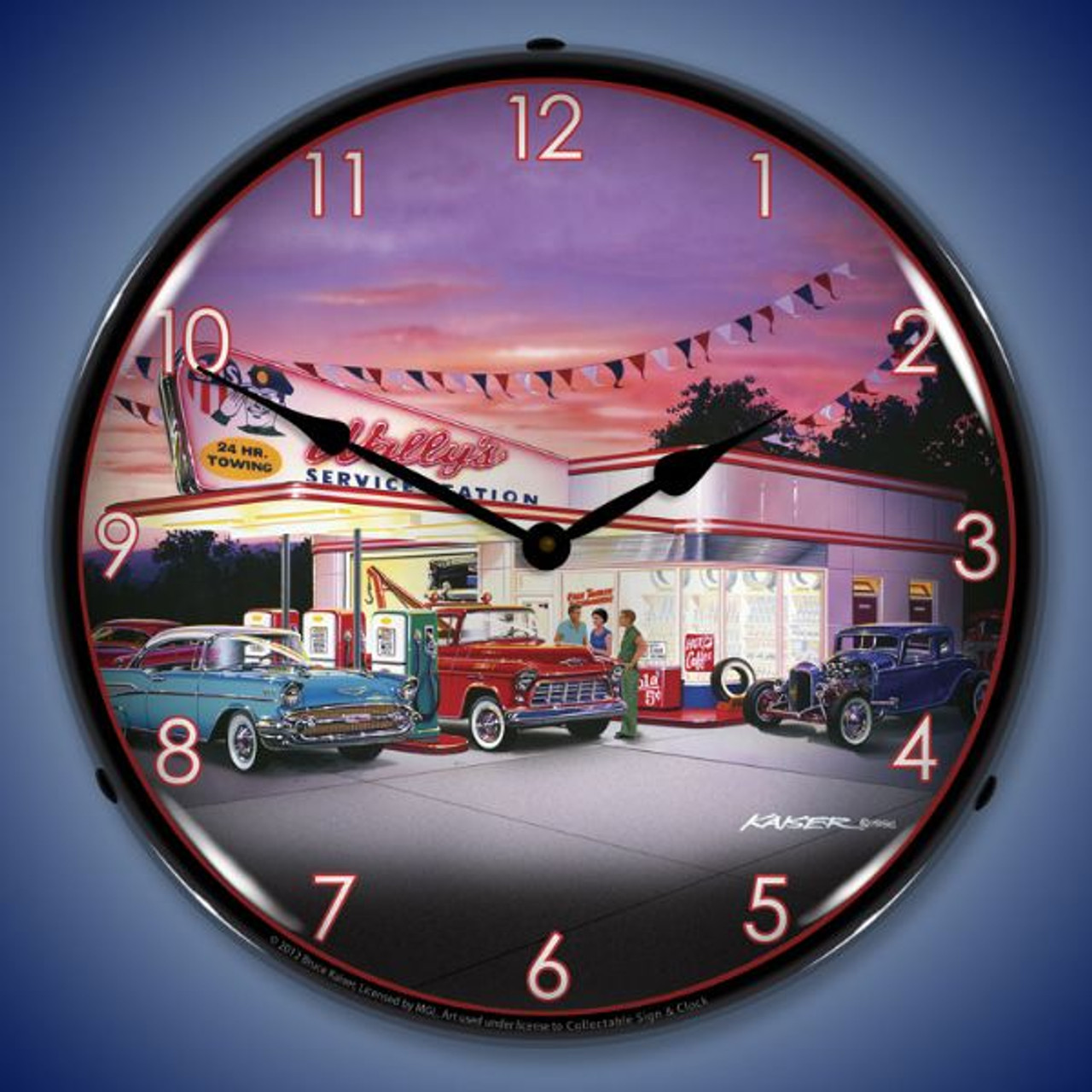 Retro Wallys Service Station Lighted Wall Clock 14 x 14 Inches