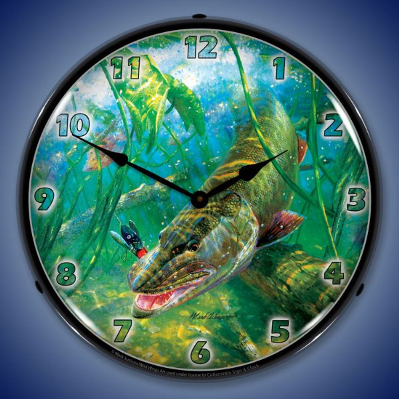 In The Thick of It Muskie Lighted Wall Clock 14 x 14 Inches