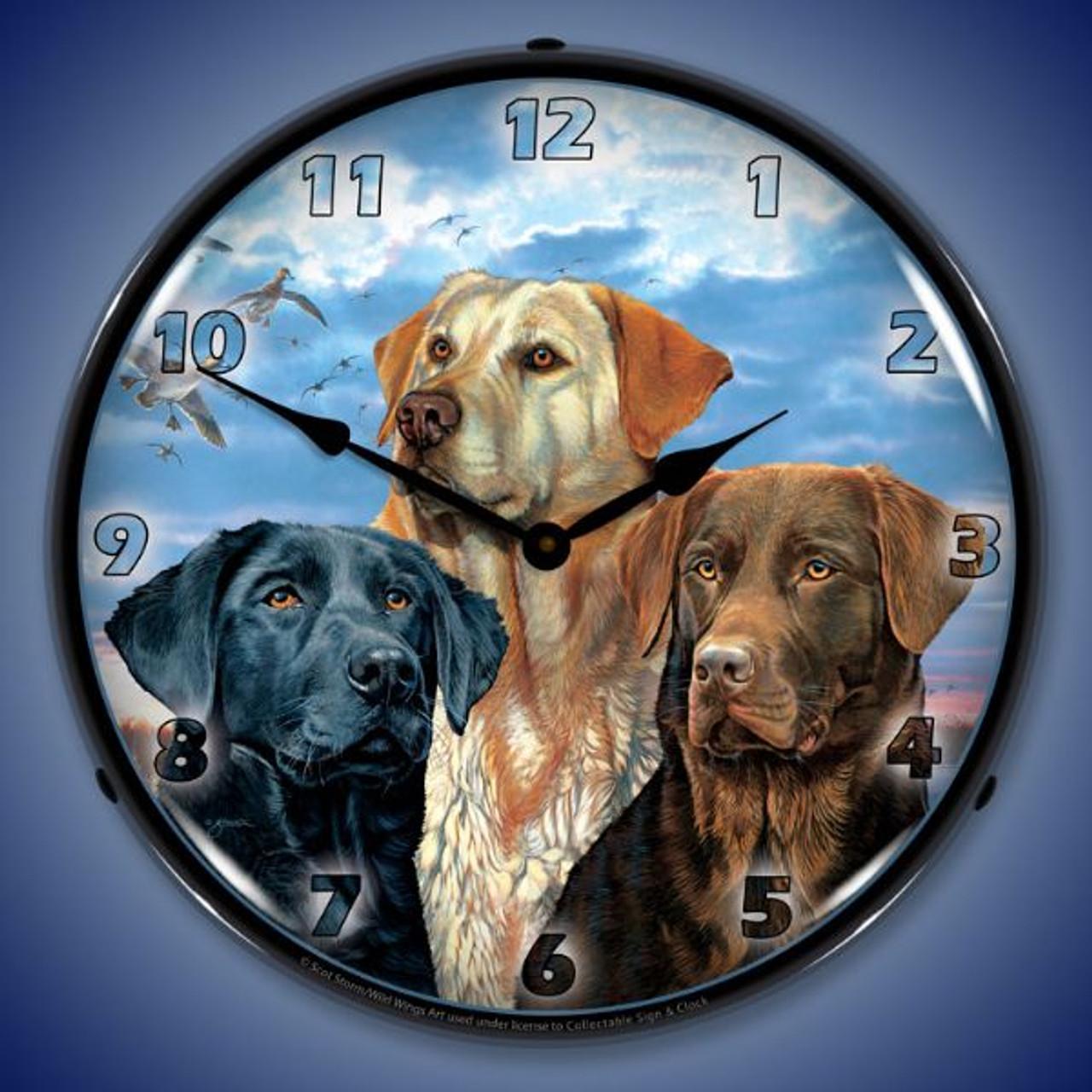 Labrador Retriever Lighted Wall Clock 14 x 14 Inches