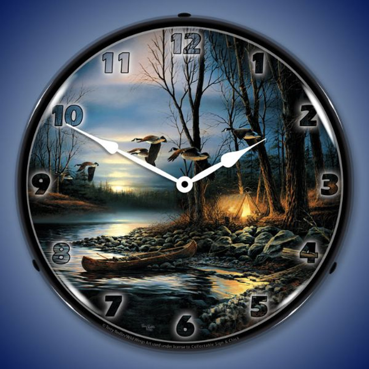 Evening Glow Lighted Wall Clock 14 x 14 Inches