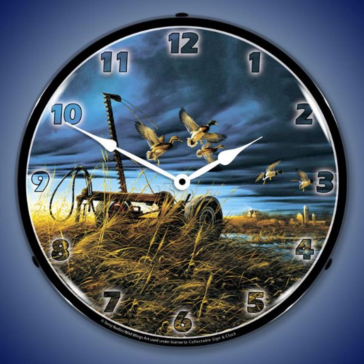 Landmark Mallards Lighted Wall Clock 14 x 14 Inches