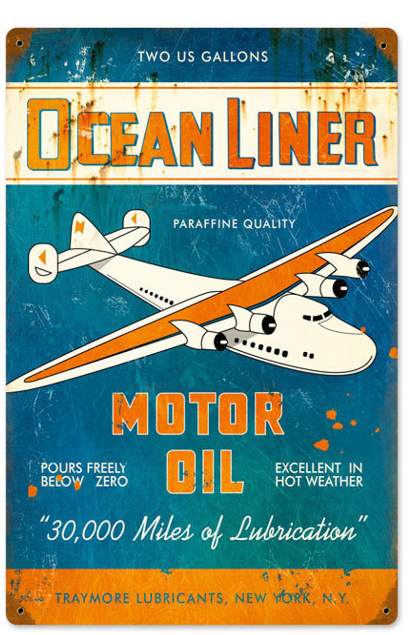 Retro Ocean Liner Oil Vintage Metal Sign 12 x 18 Inches