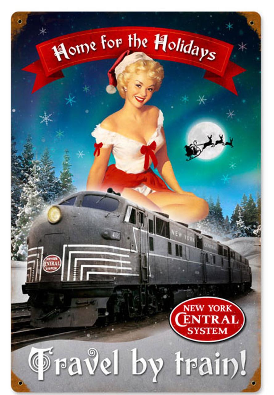 Retro Christmas Train Metal Sign   12 x 18 Inches