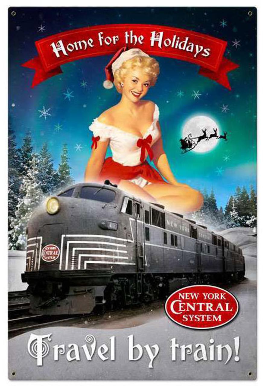 Retro Christmas Train Metal Sign 24 x 36 Inches