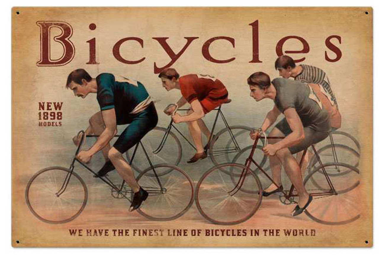 Retro Bicycles Metal Sign 36 x 24 Inches