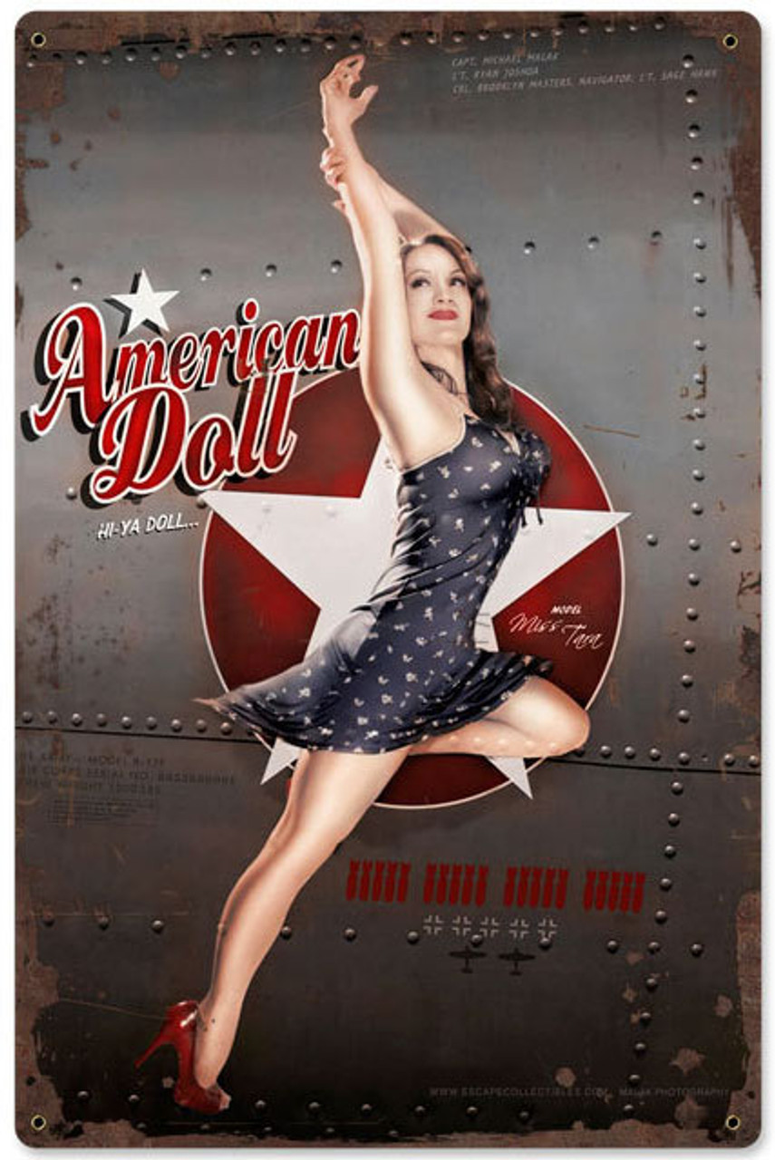 Retro American Doll Metal Sign   12 x 18 Inches