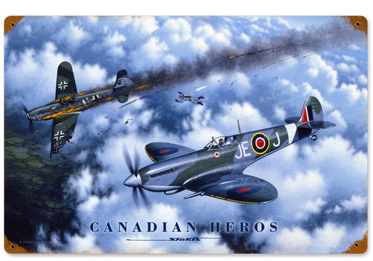 Retro Canadian Heroes Vintage Metal Sign 12 x 18 Inches
