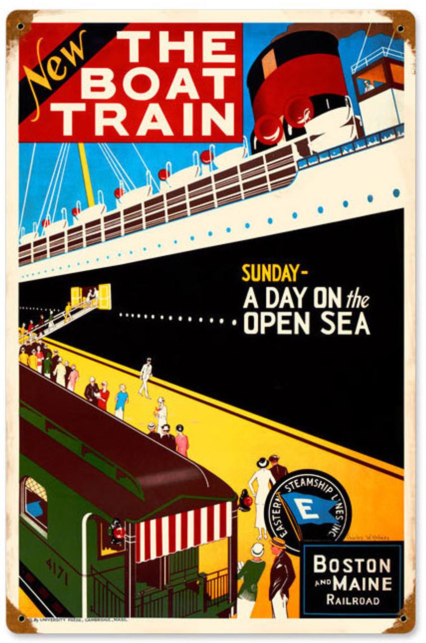 Retro Boat Train  Metal Sign 12 x 18 Inches